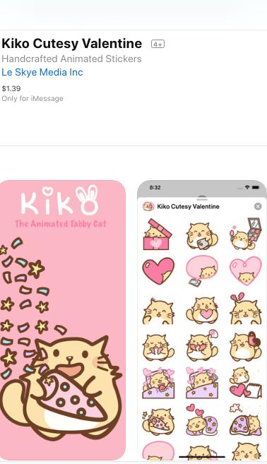 Kiko Cutesy Valentine 2020 iOS sticker pack app