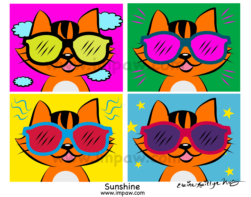 I M PAW Kiki cat webcomics 2019 Day 7 of 365 days daily art challenge happy proud cool cat face with color eyeglasses sunglasses fashion digital art illustration by Katmeister Adores Elaine-Kaitlyn Wong