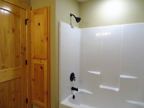 Master Bathroom with built in Linen closet