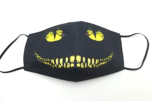 Μάσκα προστασίας προσώπου ενηλίκων Μαυρη με κιτρινο χαμόγελο