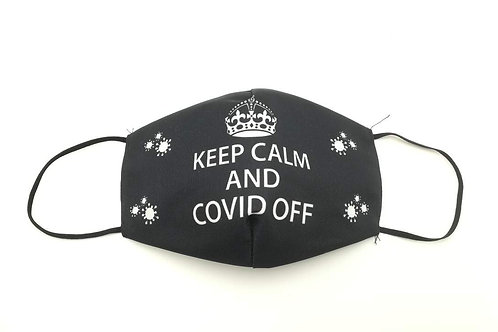 Μάσκα προστασίας προσώπου ενηλίκων Μαυρη με kepp calm.