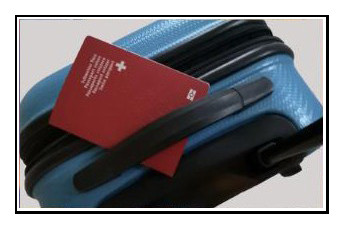 Koffer mit Pass