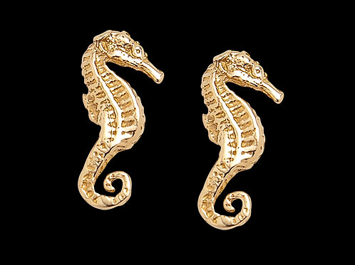 Gold Sea Horse Earrings