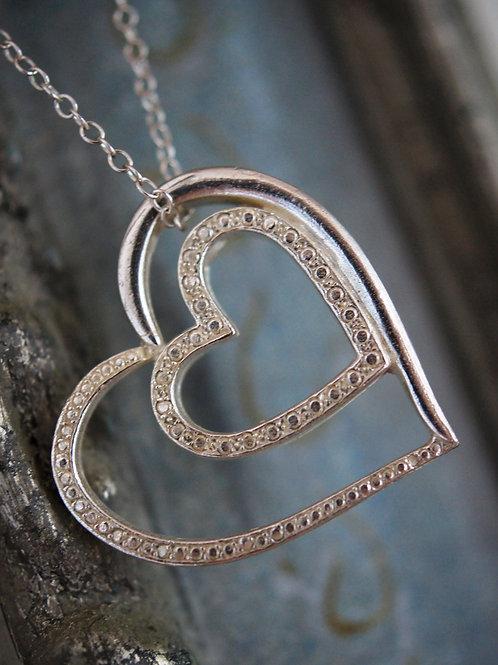 Double Heart Pendant in Sterling