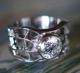 Custom White Gold & Diamond Web Ring