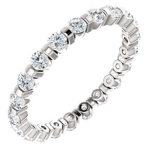 Diamond & White Gold Stackable Eternity Band