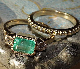 Custom Emerald & Diamond Yellow Gold Ring Set