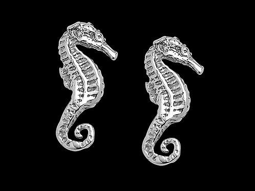 White Gold Sea Horse Earrings
