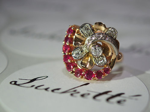 Antique Ruby & Diamond Cocktail Ring