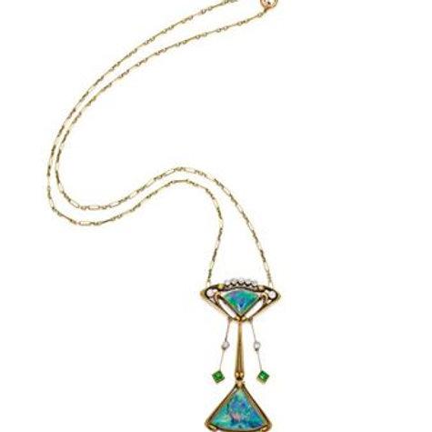 Art Nouveau Opal and Demantoid Garnet Necklace