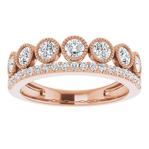Crown Rose Diamond Stackable Ring