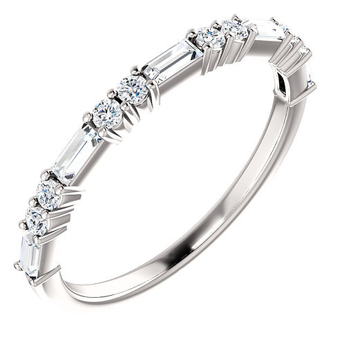 Diamond Round & Baguette Stackable White Gold Ring