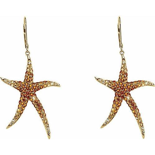 Tangerine Citrine & Quartz Starfish Earrings