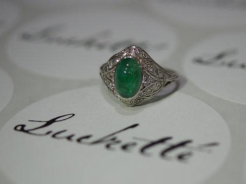 Emerald & Diamond Platinium Ring