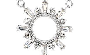 Deco Circle Diamond Baguette Necklace Luckette