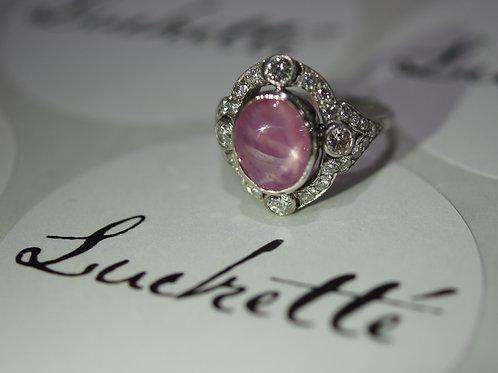 Art Nouveau Pink Star Sapphire Ring
