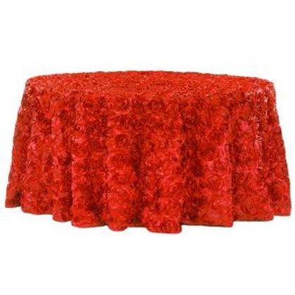 """120"""" Red Rosette Satin Linen"""