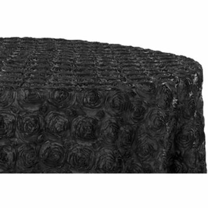 """132"""" Black Rosette Satin Linen"""