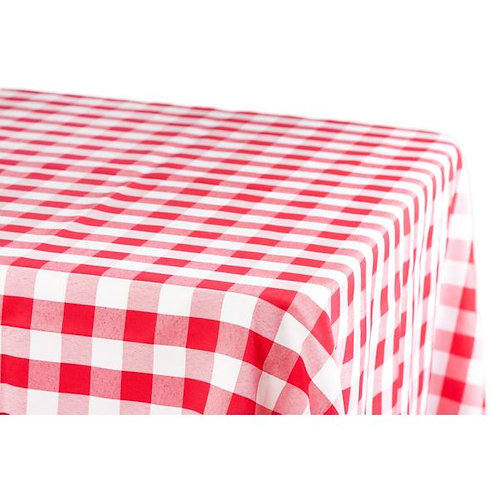 90x132 Red and White Checkered Polyester Linen