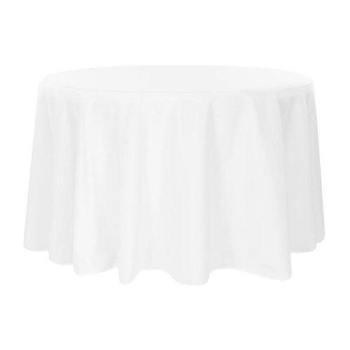 """132"""" White Polyester Linen"""