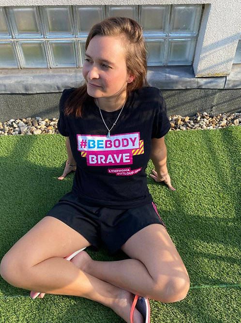 Girl wearing Be Body Brave T-shirt