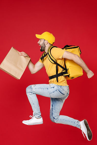 Full length of step delivery employee man in yellow cap t-shirt thermal backpack hold craf