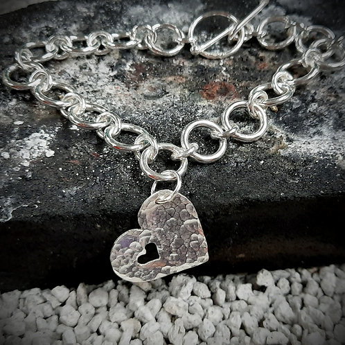 Sterling Silver Round Link Bracelet w Picture Charm