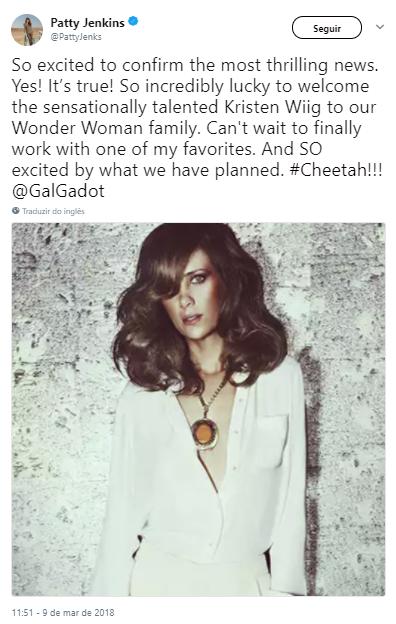 A diretora Patty Jenkins confirmou a adição de Kristen Wiig ao elenco de Mulher-Maravilha 2 via twitter - Imagem: (Twitter/Divulgação)