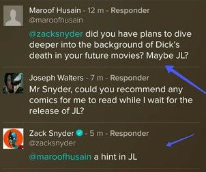 De acordo com o diretor Zack Snyder, a sua versão de Liga da Justiça traria algumas questões sobre a morte de Dick Grayson (Foto: Vero / Reprodução)