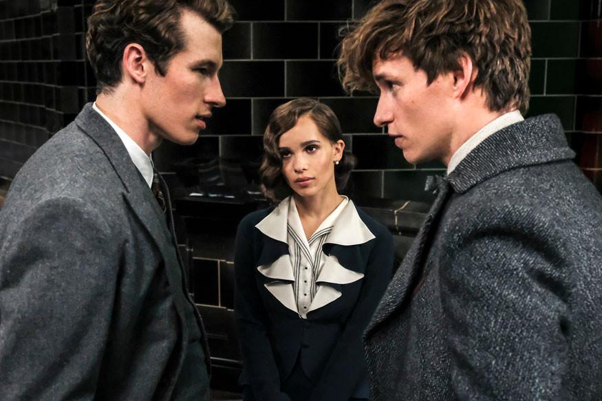 Eddie Redmayne (Newt), Zoë Kravitz(Leta) e Callum Turner(Teseu) em cena do filme.