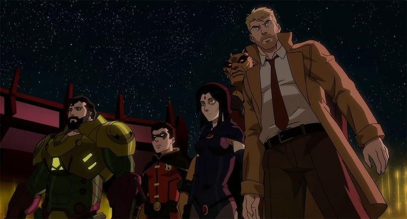 Superman, Robin, Ravena, Etrigan e John Constantine são os líderes da resistência na batalha de Apokolips (Imagem: Warner Bros. / Divulgação)