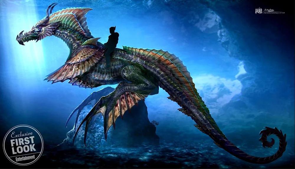Dragão Marinho gigante estará presente no filme solo do Aquaman. (Imagem: Entertainment Weekly)