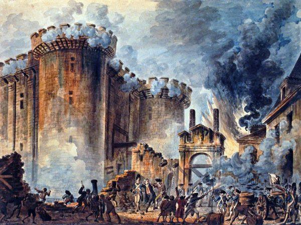 """Tomada da Bastilha"", Jean-Pierre Louis Houël, 1789"