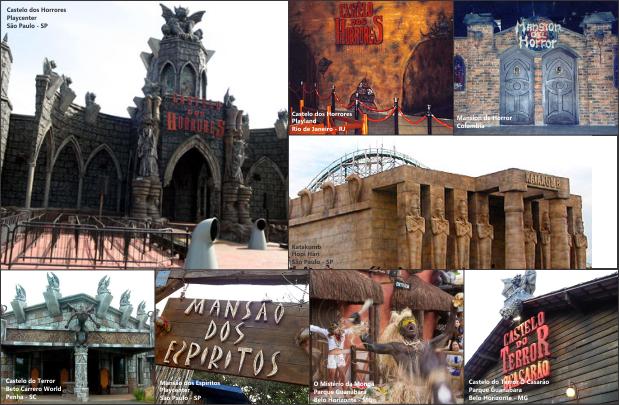 Algumas das atrações temáticas feitas pela Indiana Mystery que estão espalhadas pela América Latina