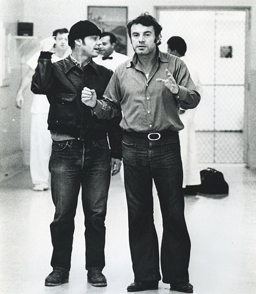 """Milos Forman e Jack Nicholson nos bastidores do filme """"Um estranho no Ninho"""""""
