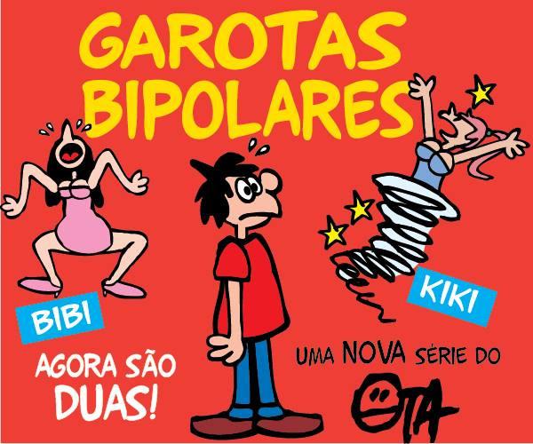 A nova série do Ota conta com duas novas namoradas: Bibi e Kiki, as garotas bipolares! Ilustração retirada do site oficial do autor.