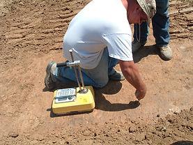 Worker Testing Soil