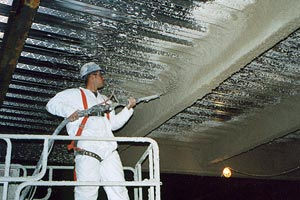 Worker Fireproofing Ceiling