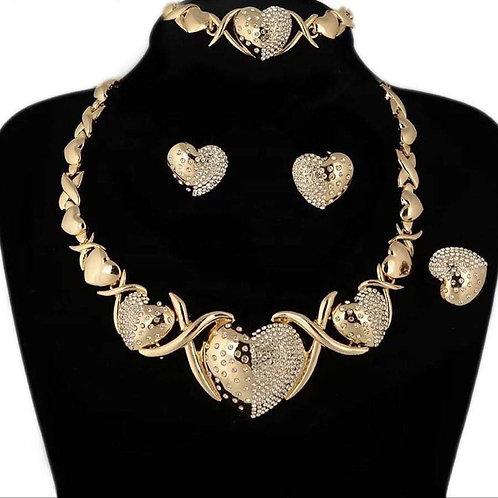 Big  XO Heart Necklace Set