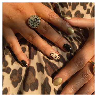 Black and Gold Leopard Print Nails