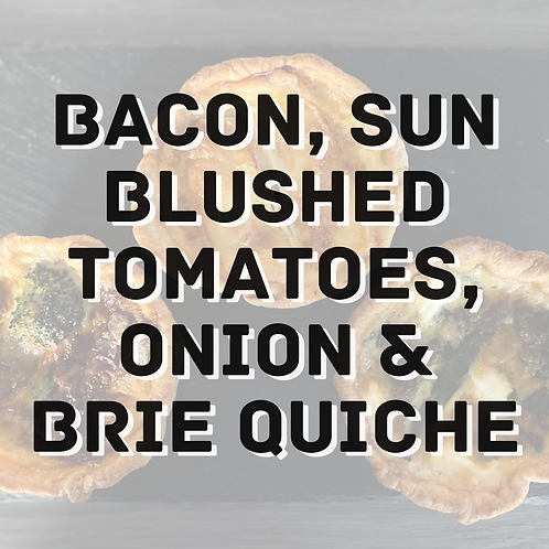 Bacon, Sun Blushed Tomatoes, Onion & Brie Quiche