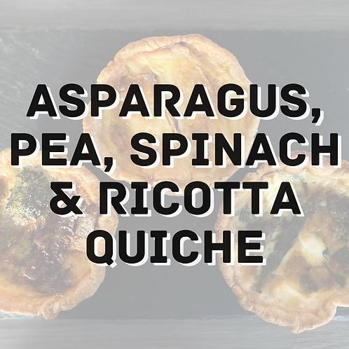 Asparagus, Pea, Spinach & Ricotta Quiche