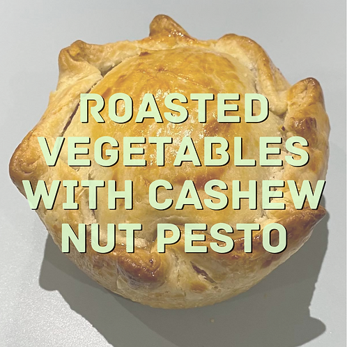 Roasted Vegetables with cashew nut pesto pie