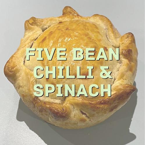 Five bean chilli & spinach pie