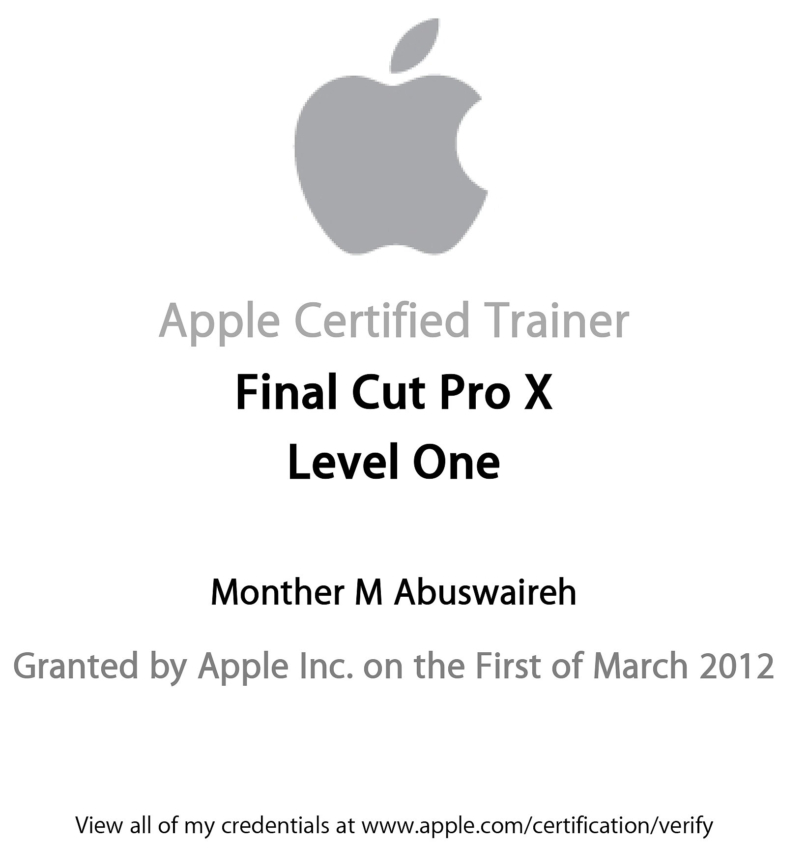 Monther Abuswaireh Senior Certified Instructor Act Final Cut Pro X