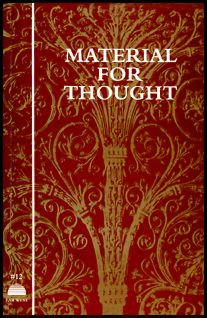 Material for Thought 1974-2000 | Far West Editions