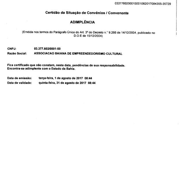 CERTIDÃO DE CONVÊNIOS