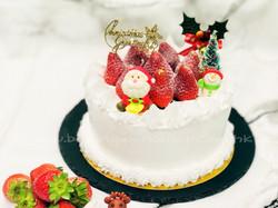 白色聖誕士多啤梨蛋糕