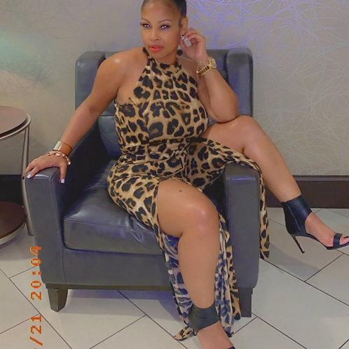 Leopard Romper with Split Leg