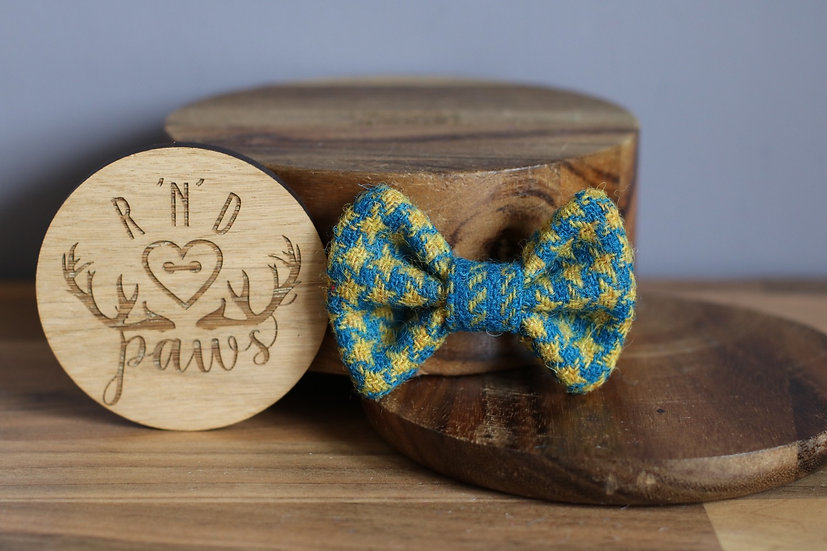Small Blue and Yellow Harris Tweed Bow